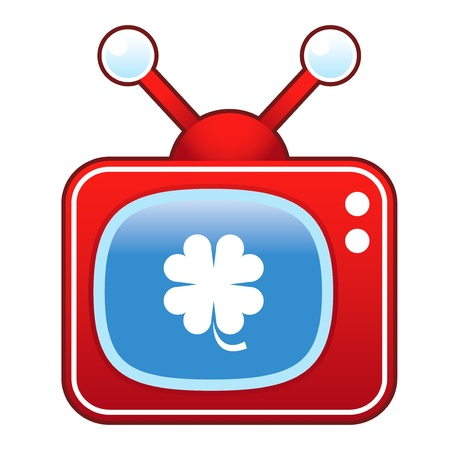 televised: Luck four leaf clover or St  Patrick s Day icon on retro television set