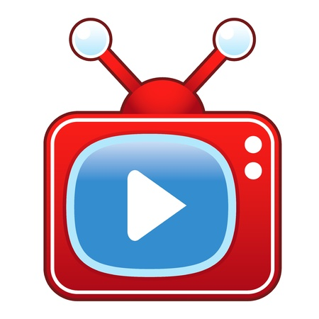 televised: Play or advance media player icon on retro television set suitable for use in print, on websites, and in promotional materials   Illustration