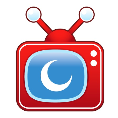 episode: Crescent moon icon on retro television set  Illustration