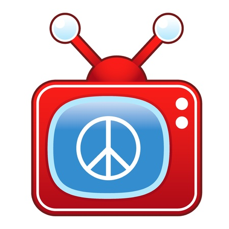 Peace sign icon on retro television set
