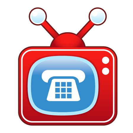 customer service phone: Telephone or contact icon on retro television set  Illustration