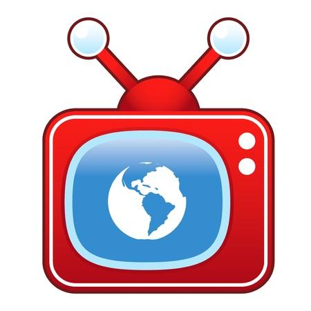 Planet earth icon on retro television set