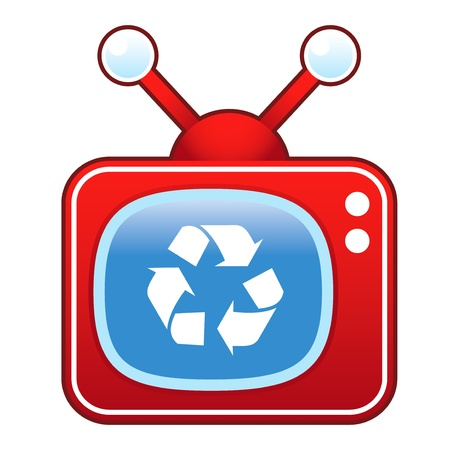 televised: Recycle symbol icon on retro television set  Illustration