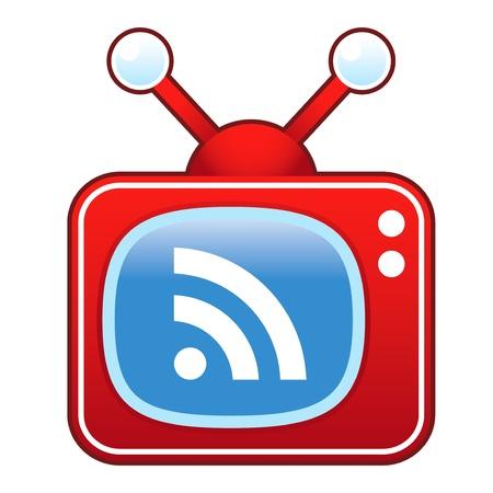syndication: RSS icono de la alimentaci�n en el televisor retro