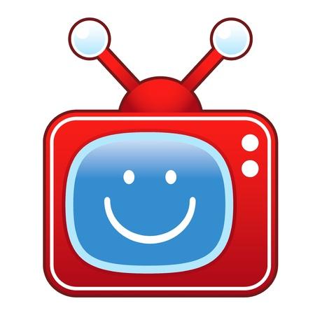 televised: Smiley face emoticon icon on retro television set