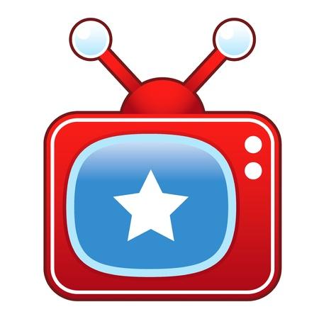 Star icon on retro television set