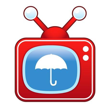 televised: Umbrella or protection icon on retro television set
