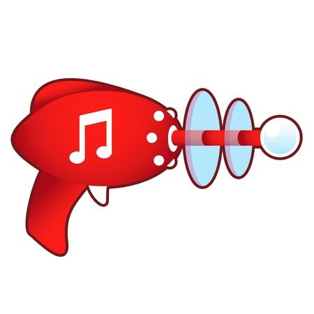 ray gun: Music notes icon on laser ray gun illustration in retro 1950 s style
