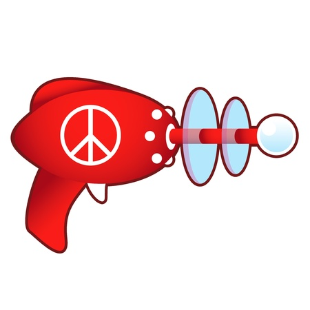 Peace sign icon on laser ray gun illustration in retro 1950 s style Stock Vector - 14592669