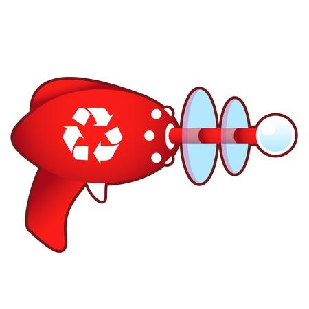 ray gun: Recycle symbol icon on laser ray gun illustration in retro 1950 s style   Illustration