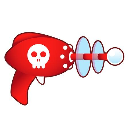 Skull icon on laser ray gun illustration in retro 1950 s style