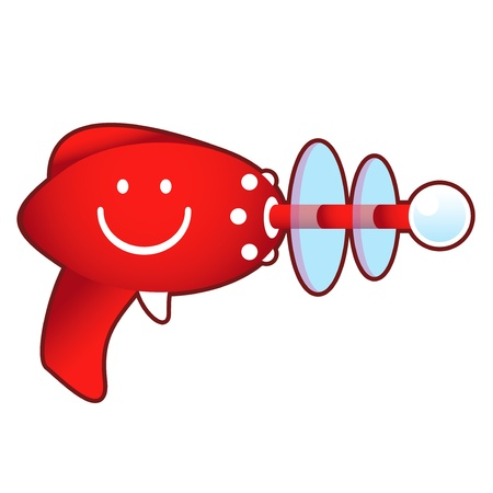 glee: Smiley emoticon icon on laser ray gun illustration in retro 1950 s style