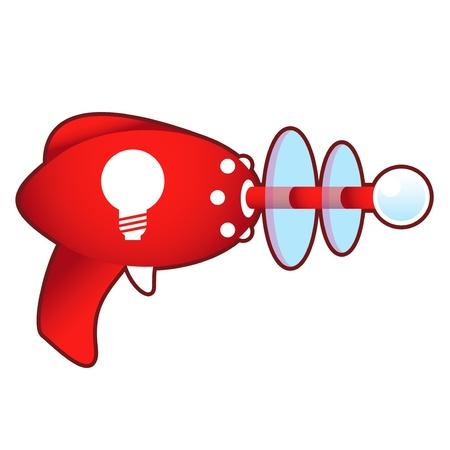 Light bulb or idea icon on laser raygun  illustration in retro 1950 s style
