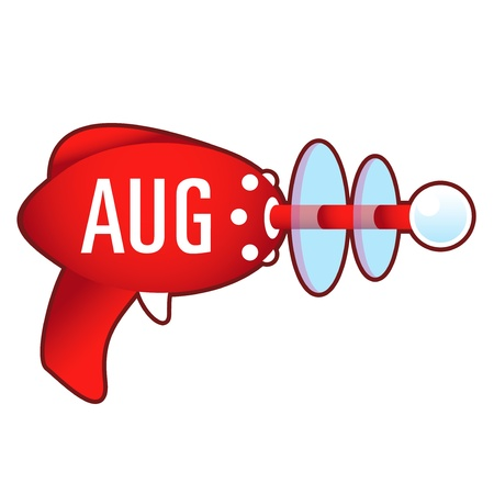 august calendar: August calendar month icon on laser raygun  illustration in retro 1950 s style