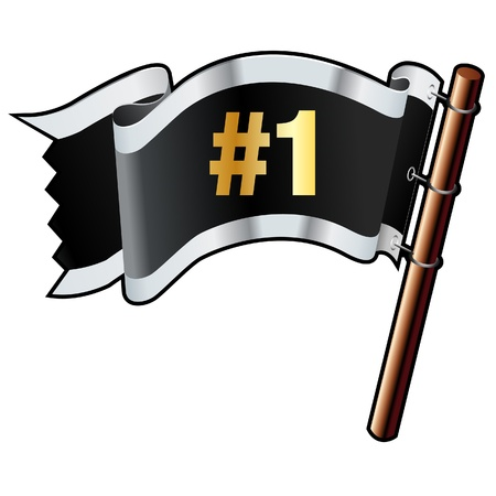 champ: Number one e-commerce icon on black, silver, and gold vector flag good for use on websites, in print, or on promotional materials