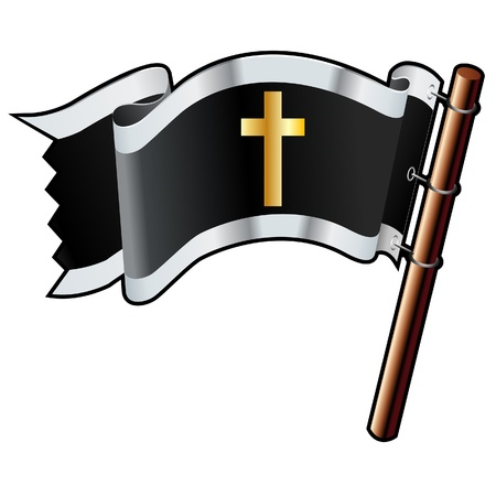 Christian cross religious icon on black, silver, and gold vector flag good for use on websites, in print, or on promotional materials