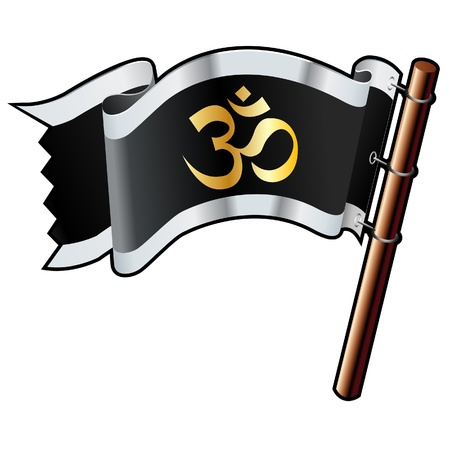ohm symbol: Hindu om religious icon on black, silver, and gold vector flag good for use on websites, in print, or on promotional materials
