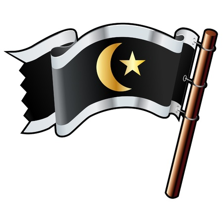 Islamic crescent and star religious on black, silver, and gold vector flag good for use on websites, in print, or on promotional materials  Ilustração