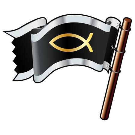 religious icon: Jes�s peces icono religioso en negro, plata, y la bandera de oro buen vector para su uso en sitios web, en forma impresa, o en los materiales de promoci�n Vectores