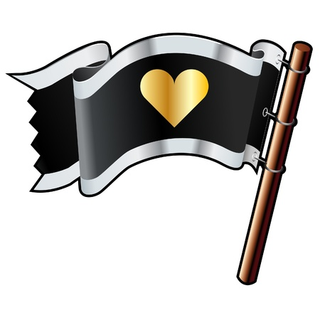 Heart, love, or relationship icon on black, silver, and gold vector flag good for use on websites, in print, or on promotional materials