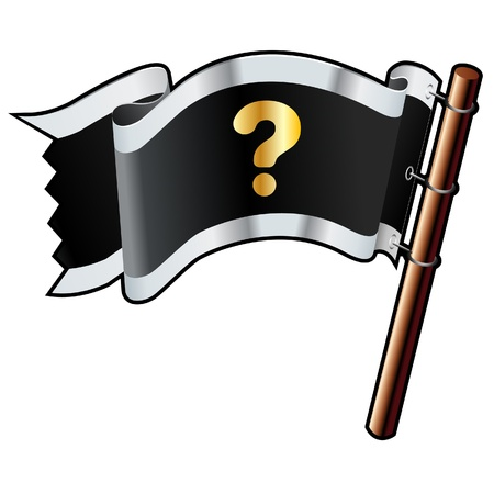 Question help, or FAQ icon on black, silver, and gold vector flag good for use on websites, in print, or on promotional materials