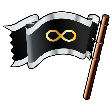 Infinity math symbol on black, silver, and gold vector flag good for use on websites, in print, or on promotional materials Vector