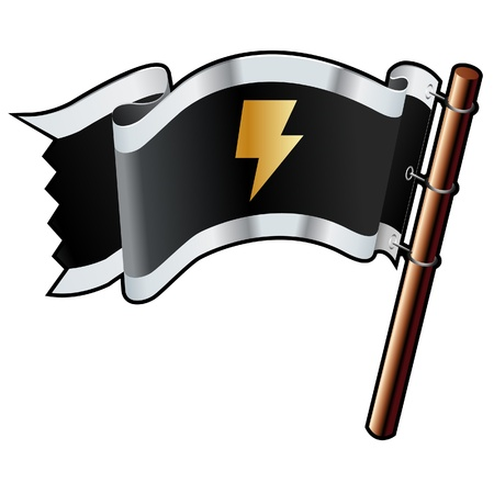 electric current: Electricity or power icon on black, silver, and gold vector flag good for use on websites, in print, or on promotional materials