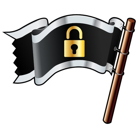 Lock or secure icon on black, silver, and gold vector flag good for use on websites, in print, or on promotional materials