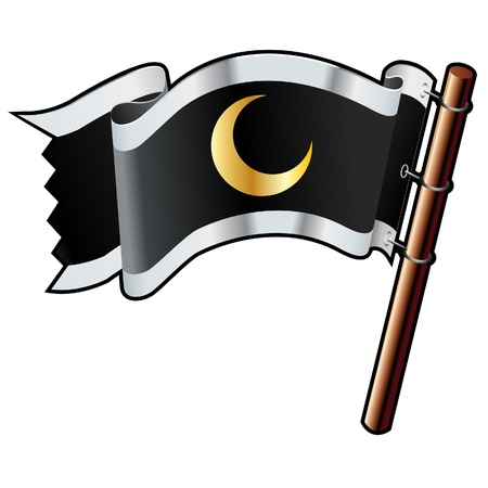Crescent moon icon on black, silver, and gold vector flag
