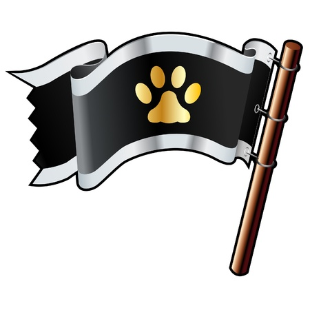 for print: Pet paw print icon on black, silver, and gold vector flag good for use on websites, in print, or on promotional materials  Illustration