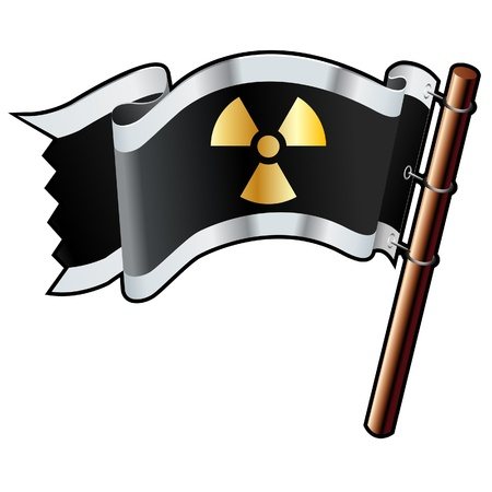 plutonium: Radiation hazard icon on black, silver, and gold vector flag good for use on websites, in print, or on promotional materials Illustration