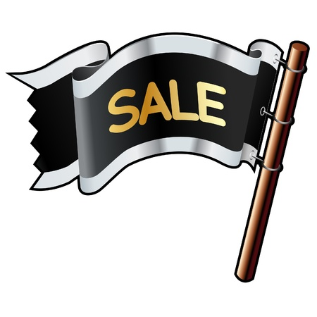 deduct: Sale e-commerce icon on black, silver, and gold vector flag good for use on websites, in print, or on promotional materials