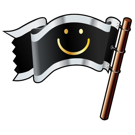 Smiley face chat or e-mail emoticon on black, silver, and gold vector flag good for use on websites, in print, or on promotional materials  Ilustrace