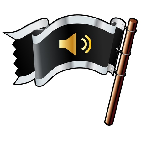 Mute or volume control media player icon on black, silver, and gold vector flag Çizim