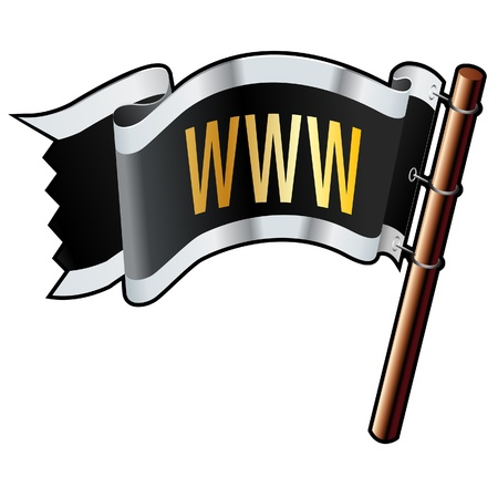 suffix: WWW icon on black, silver, and gold vector flag