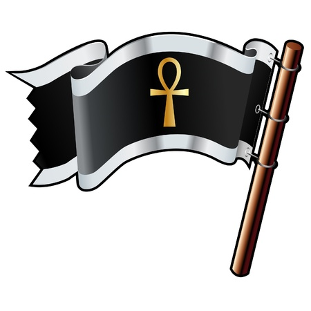 Ankh religious symbol on black, silver, and gold vector flag good for use on websites, in print, or on promotional materials 向量圖像