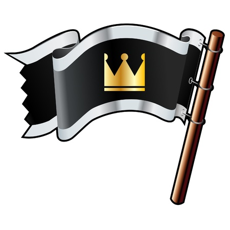 Crown icon on black, silver, and gold vector flag good for use on websites, in print, or on promotional materials  Vector