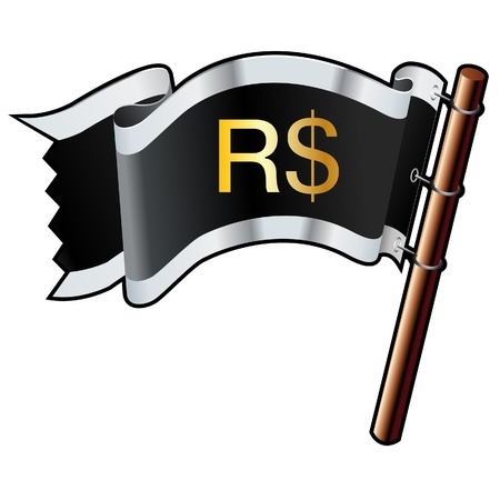 e commerce icon: Brazilian Real currency symbol on black, silver, and gold vector flag good for use on websites, in print, or on promotional materials