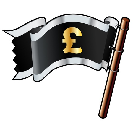 British pound currency symbol on black, silver, and gold vector flag good for use on websites, in print, or on promotional materials