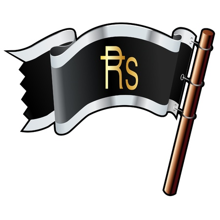 transact: Indian Rupee currency symbol on black, silver, and gold vector flag good for use on websites, in print, or on promotional materials