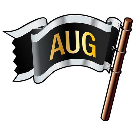 august calendar: Agosto mes icono en negro, plata, oro y bandera bueno para su uso en sitios web, en forma impresa o en los materiales de promoci�n Vectores