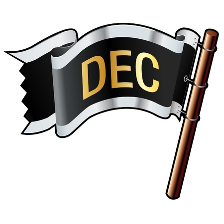 December calendar month icon on black, silver, and gold  flag good for use on websites, in print, or on promotional materials Vector