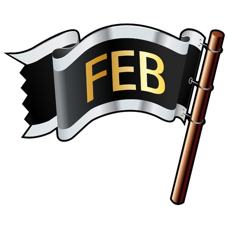 February calendar month icon on black, silver, and gold  flag good for use on websites, in print, or on promotional materials  Stock Vector - 14665753