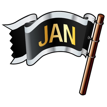 January calendar month icon on black, silver, and gold flag good for use on websites, in print, or on promotional materials  Stock Vector - 14665746