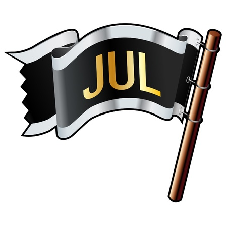 July calendar month icon on black, silver, and gold vector flag good for use on websites, in print, or on promotional materials  Vector