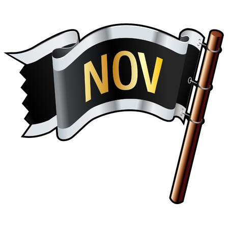 november calendar: November calendar month icon on black, silver, and gold  flag good for use on websites, in print, or on promotional materials