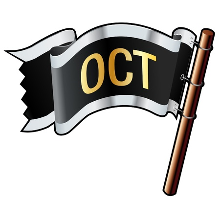 October calendar month icon on black, silver, and gold flag good for use on websites, in print, or on promotional materials Stock Vector - 14665750