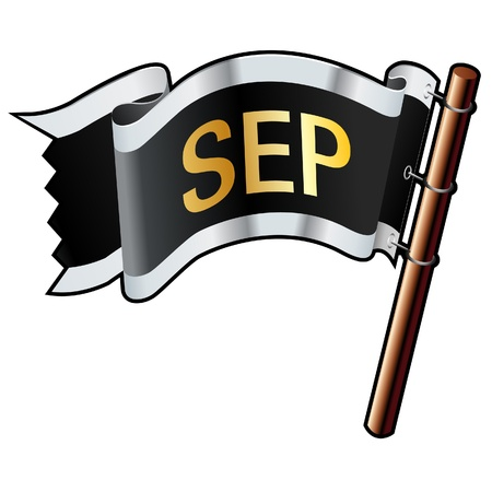 sep: September calendar month icon on black, silver, and gold  flag good for use on websites, in print, or on promotional materials