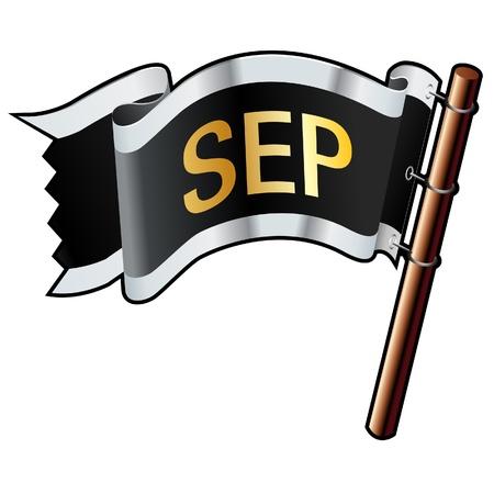 calendario septiembre: Septiembre calendar icon mes en negro, plata, oro y bandera bueno para su uso en sitios web, en forma impresa o en los materiales de promoci�n Vectores
