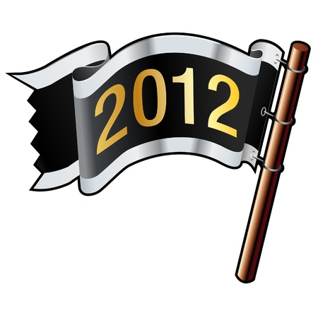 2012 year calendar icon on black, silver, and gold  flag good for use on websites, in print, or on promotional materials  Illustration